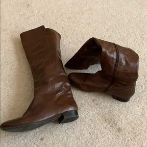 Nine West brown leather over knee riding boots 8